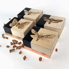Lambs, Pyrography, Gold Leaf, Wooden Boxes, Wedding Favors, Moth, Decorative Boxes, Gift Wrapping, Unique Jewelry