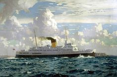 The New TS 'Falaise' (Southern Railway poster artwork) Norman Wilkinson National Railway Museum Ship Paintings, Your Paintings, Railway Posters, Travel Posters, Nautical Painting, National Railway Museum, Southern Railways, Art Uk, Fine Art