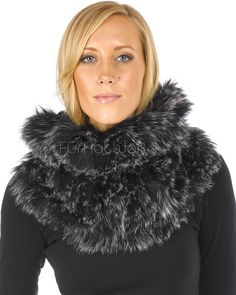 11e63ee3f The Zoey Black Frost Knitted Fox Fur Cowl: FurHatWorld.com Snood Scarf,  Rabbit