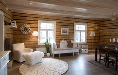 Modern Cabin Interior, Home Interior Design, Greek Decor, Log Home Interiors, Log Home Designs, Scandi Home, Cabins And Cottages, Log Homes, Cozy House