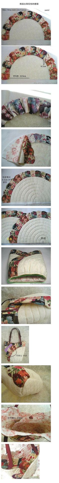 quilted tulip bag--unusual construction and very pretty. sewing tutorial for purse handbag.