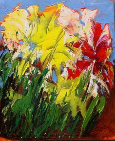 Abstract Flower Paintings | Abstract yellow and red flowers, acrylic painting on canvas. BACK TO ...