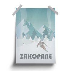 Vintage Poster Zakopane Winter Snow Mountains par HunnyBadgerStudio