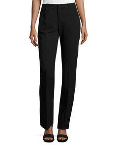 Wool-Crepe Straight-Leg Pants, Black
