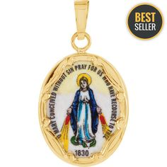 Yellow Gold Porcelain Miraculous Pendant - Grams in Yellow Gold - FREE gift-ready jewelry box - This Item Does Not Ship With a Chain Orange Crystals, Catholic Medals, Gold Price, Religious Jewelry, Gold Fashion, Fashion Jewelry, Hand Painted, Painted Porcelain, Miraculous