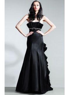 Modern Floor-length Sleeveless Satin Strapless Column Prom Dresses - Wedding Dresses