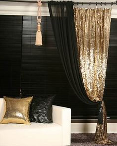 Gold Sequins Beaded Curtain Drapery Panel Room Divider Handmade, Order-made - Home Decor Designs P Gold Sequin Curtains, Beaded Curtains, Glitter Curtains, Gold Rooms, Panel Room Divider, Drapery Panels, Panel Curtains, Sheer Curtains, Velvet Curtains