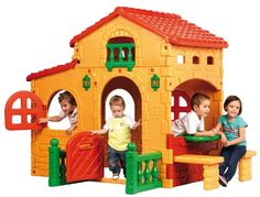 """ECR4Kids Big Play House. Assembly for this playhouse is required and comes with dimensions of  78.7"""" L x 60.6"""" W x 63.4"""" H. A gift idea - toys for 3 year old boys"""