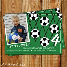 Soccer Party Invitation  Soccer Invite  Photo by IlonaPaperPassion, $10.00