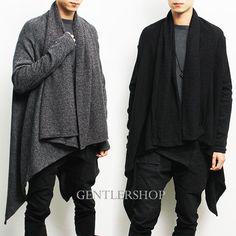Avant-garde Mens Fashion Draping Shawl Knit Long Cardigan, GENTLERSHOP | Clothing, Shoes & Accessories, Men's Clothing, Coats & Jackets | eBay!