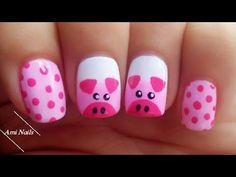 Pig Nail Art, Pig Nails, Farm Animal Nails, Animal Nail Art, Animal Nail Designs, Colorful Nail Designs, Minimalist Nails, Nurse Nails, Sneaker Nails