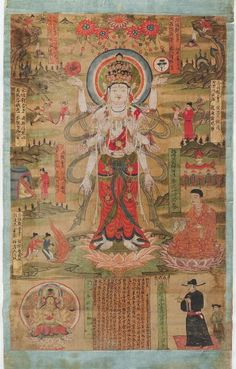 Eleven-Headed Guanyin Standing in a Landscape Surrounded by Selected Illustrations and Quotations from the Lotus Sutra, dated to 985. Hanging scroll; ink and color on silk. Chinese, 10th century Song dynasty, Northern Song period, 960-1127. Creation Place: Dunhuang, Gansu province, China.  Harvard Art Museums, Department of Asian Art.