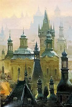 Praga Building Painting, Old Building, Watercolor Bird, Watercolor Paintings, Monuments, Watercolor Architecture, Urban Sketching, Czech Republic, Gouache