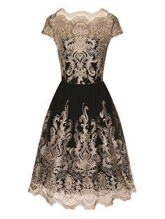 Metallic embroidered tea dress