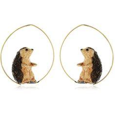 Nach Women Hedgehog Earrings (120 CAD) ❤ liked on Polyvore featuring jewelry, earrings, brown, nickel free earrings, nickel free jewelry, brown jewelry, earring jewelry and brown earrings