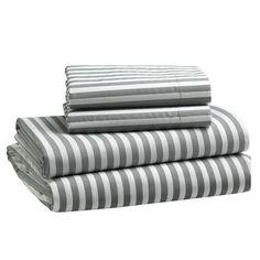 west elm gray stripe sheet