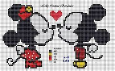 Minnie and Mickey Mouse x-stitch Cross Stitch Heart, Beaded Cross Stitch, Cross Stitch Animals, Modern Cross Stitch, Cross Stitch Embroidery, Disney Cross Stitch Patterns, Cross Stitch Designs, Embroidery Alphabet, Embroidery Patterns