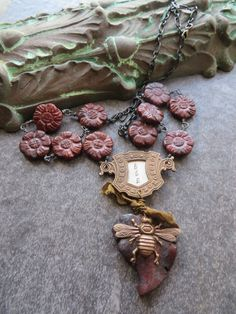 Assemblage BEE Necklace with Red Jasper Flower Beads