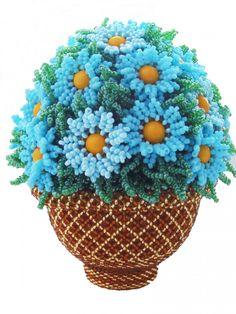 "яйцо ""Корзинка с голубыми цветами"" | biser.info - всё о бисере и бисерном творчестве"