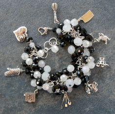 Chef Charm Bracelet Cook Theme Silver Handmade Black White Crystal Chunky by Etsy artist KGeddesCreations