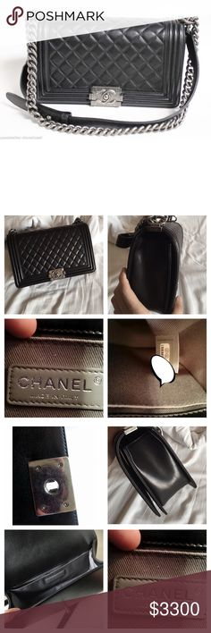 Chanel Le Boy 100% AUTHENTIC , Size New Medium black Lamb, SHW , Used But in Great Condition, no smell , Smoke free home , no animals around , bag only no Auth Card or Box anymore Sorry CHANEL Bags Crossbody Bags