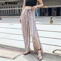 1c64ab48e6cc7 Women loose chiffon pants summer long wide leg pants bohemian split trousers  high waist striped fashion casual sexy bottoms new