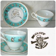 Alaska-Tea-Cup-Saucer-Bone-China-Eskimo-Moose-Bear-Made-in-England
