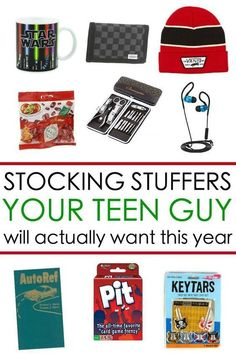 Teen boy gift ideas: Here are 65 Stocking Stuffers for a Teen Guy he will actually want for Christmas this year! Teen boy gift ideas: Here are 65 Stocking Stuffers for a Teen Guy he will actually want for Christmas this year! Stocking Stuffers For Teens, Christmas Stocking Stuffers, Stocking Ideas, Stocking Stuffers For Boyfriend, Gifts For Teen Boys, Gifts For Teens, Teenage Boy Christmas Gifts, Teen Stockings, Christmas Stockings