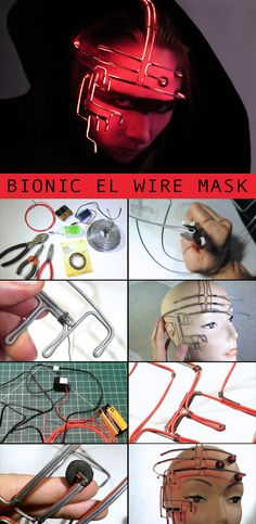 The EL wire illuminates parts of the face, giving it a futuristic, sinister look.