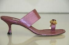 New MANOLO BLAHNIK Zionima Jeweled Purple Python SANDALS SHOES Kitten Heels