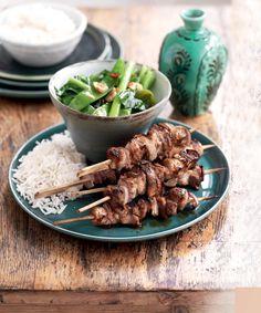 Pork Skewers, Healthy Food, Healthy Recipes, Grilled Pork, Southern Recipes, Asian Recipes, Free Food, Grilling, Garlic