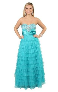 strapless ruched jewel embroidery long prom dress with tiered skirt  Possible Prom Dress!!!!