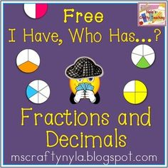 Free - I Have - Who Has - Fractions and Decimals #math #fractions