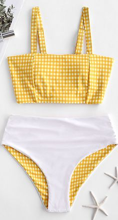 Reversible Plaid Lace Up High Waisted Tankini Swimsuit Style: Fashion Swimwear Type: Tankini Gender: For Women Material: Nylon,Polyester,Spandex Bra Style: Padded Support Type: Wire Free Collar-line: Straps Pattern Type: Plaid Decoration: Lace up … Bathing Suits For Teens, Summer Bathing Suits, Swimsuits For Teens, Cute Bathing Suits, Cute Swimsuits, Yellow Bathing Suit, Teen Fashion Outfits, Style Fashion, Country Fashion