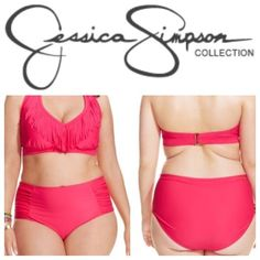 NWTPlus Size High Waist Swimsuit BRAND NEW WITH TAGS! Hot pink, high waisted, fringe bikini. The top offers a v-neck with fringe detail on the front and a halter tie top with adjustable hook back! Extremely supportive with built in padding. The bottom is high waisted with rouching on both sides. This swimsuit is absolutely gorgeous and flattering on plus size women! Womens size 3X. PRICE FIRM. Jessica Simpson Swim Bikinis
