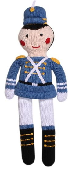 Blue Toy Soldier Hand Knit Cotton Doll by Zubels