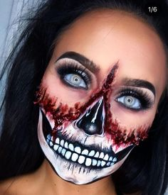 P YO FACE OFF My first face chart recreation. its not spot on but Im kinda in love with it regardless INSPO Fee Fromkin s Creepy Halloween Makeup, Creepy Makeup, Amazing Halloween Makeup, Halloween Eyes, Halloween Makeup Looks, Couple Halloween Costumes, Awesome Makeup, Halloween City, Halloween Makeuo