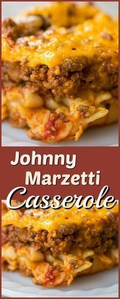 Johnny Marzetti Casserole, the classic Midwest dish that is the perfect comfort food! Recipe from @kitchenmagpie. #recipe #casserole #beef #noodles #cheese #baked #dinner #supper #family #meals #beeffoodrecipes