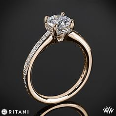 Rose Gold Ritani Classic 4 Prong Diamond Engagement Ring