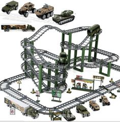 58.01$  Watch here - http://ali897.worldwells.pw/go.php?t=32676612369 - Alloy Engineering electric rail car set Military Track Series Assembling block toys for boys children gift brinquedo educativo
