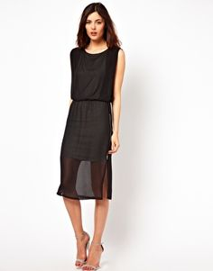 Enlarge Warehouse Jersey Lined Column Midi Dress