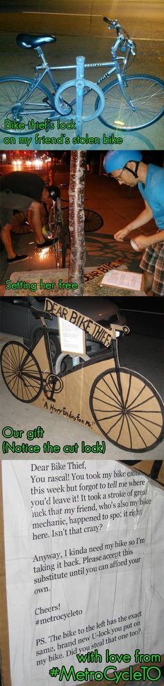 I'm pinning this to Aint Nobody Got Time for That because honestly! Nobody has time to go through allllllll this for a bike! They cut out another bike from cardboard, typed a note, and cut the lock off the bike. Where was the thief?!! On vacation?