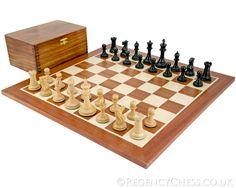 Old English Elite Ebony & Mahogany Chess Set from Regency. $595 cad.