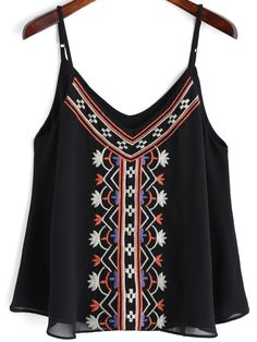 Shop Black Spaghetti Strap Embroidered Cami Top online. SheIn offers Black Spaghetti Strap Embroidered Cami Top & more to fit your fashionable needs.