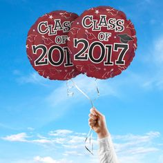 """Includes 2 Maroon 17"""" round Class of 2017 graduation foil balloons. """"Class of 2017"""" is printed on both sides of the balloons. Use balloons for your graduation party centerpieces or balloon bouquets."""