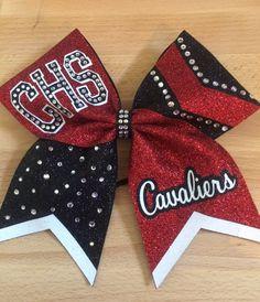 Red and black glitter cheer bow with rhinestones - Julie Johnson - Cute Cheer Bows, Cheer Hair Bows, Cheer Mom, Diy Hair Bows, Softball Bows, Cheerleading Bows, Senior Softball, Softball Crafts, Girls Softball