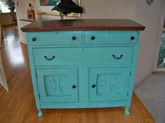 Repurposed dresser...love the color and detail