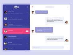 "via Muzli design inspiration. ""Skype Redesign Concepts"" is published by Muzli in Muzli - Design Inspiration. Interaktives Design, Design System, Graphic Design, Desktop Design, Website Design Layout, Ui Web, Responsive Web, Ui Design Inspiration, Chat App"