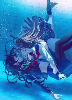 Imagem de anime, blue, and couple Anime Girlxgirl, Lgbt Anime, Fan Art Anime, Chica Anime Manga, Anime Art Girl, Manga Girl, Anime Girls, Yuri Manga, Yuri Anime