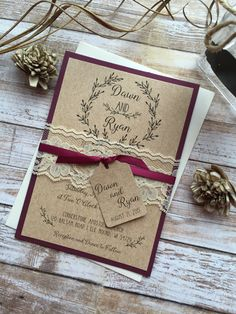 Rustic Wedding Invitation, Burgundy Wedding Invitation, Lace Wedding Invitations, Elegant Wedding Invitation, Country Wedding Invitations by DawnMarieCreations82 on Etsy https://www.etsy.com/listing/494722020/rustic-wedding-invitation-burgundy